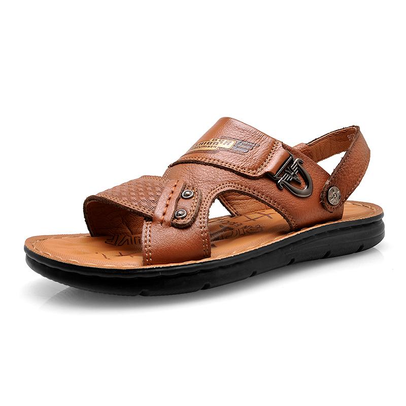 黄棕 男士真皮沙滩鞋