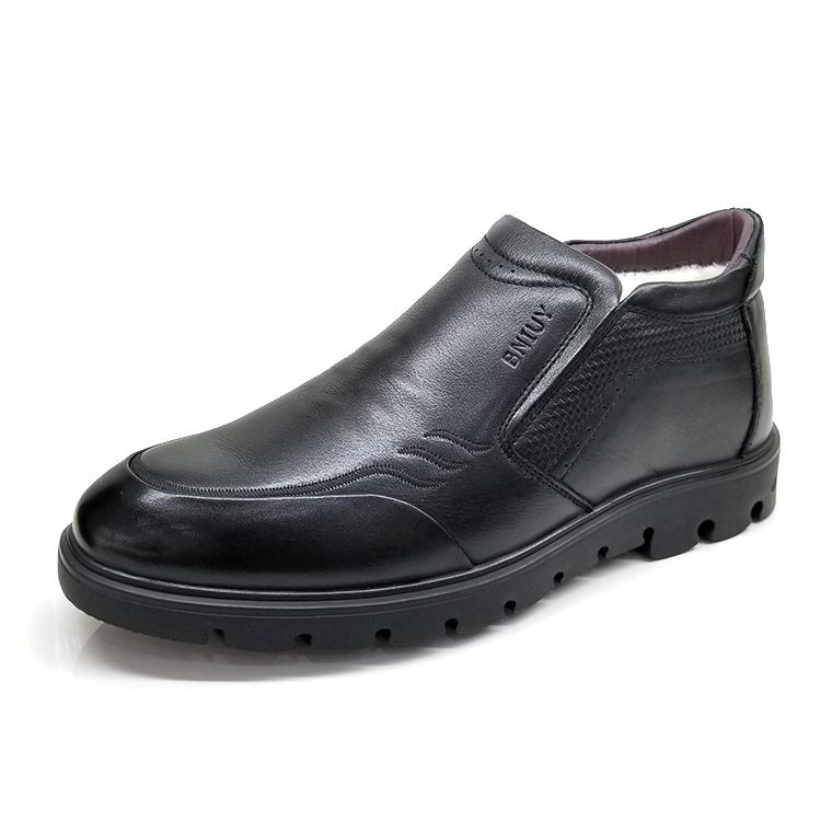百牛圆鞋业 真皮深口男棉鞋A01071-1棉